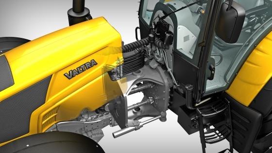 Vision 3D de l'intégration de l'articulation centrale sur le tracteur.