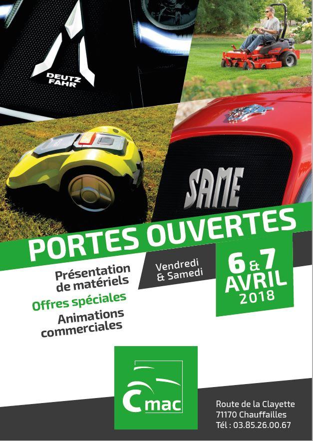 Venez découvrir nos offres 2018 à nos Portes Ouvertes CMAC les vendredi 6 & samedi 7 avril 2018 à Chauffailles