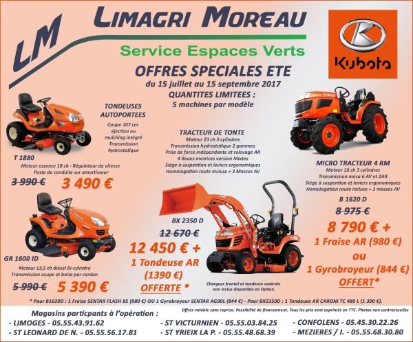 Même pendant l'été Limagri et Kubota vous offrent encore des prix fous!!! A ne pas rater dans la limite des stocks disponibles...